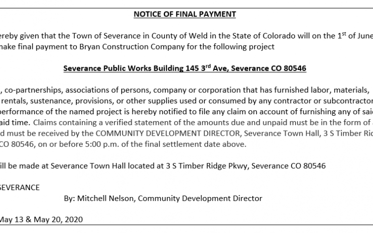 Notice of Final Payment